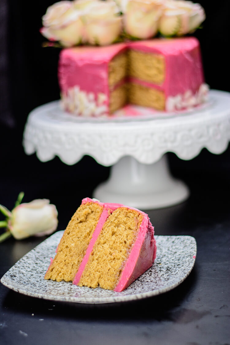Earl Grey Tea Cake with Hibiscus Frosting - Yummy Medley